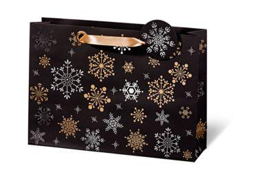 Geschenktasche Snowflakes, 270 x 380 x 100 mm, 6 Stück