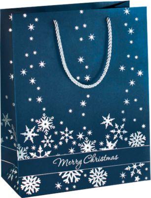 Geschenktaschen Silver Snowflakes, 260 x 330 x 125 mm, 3 Stück