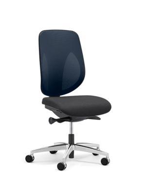 Giroflex Bürostuhl 353, ohne Armlehnen, Auto-Synchronmechanik, Muldensitz, 3D-Netz-Rückenlehne, blau/schwarz/alusilber