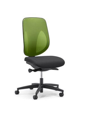 Giroflex Bürostuhl 353, ohne Armlehnen, Auto-Synchronmechanik, Muldensitz, 3D-Netz-Rückenlehne, grün/schwarz