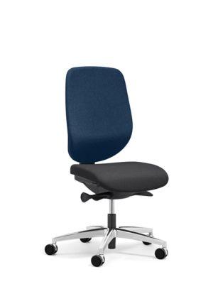 Giroflex Bürostuhl 353, ohne Armlehnen, Auto-Synchronmechanik, Muldensitz, blau/schwarz/alusilber