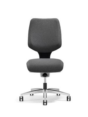 Giroflex Bürostuhl 545, ohne Armlehnen, Synchronmechanik, Muldensitz, grau/alusilber