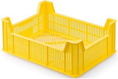 Gitter Lagerkasten für Beerenobst, Stapelhöhe 145 mm, Traglast 15 kg, Kunststoff, gelb