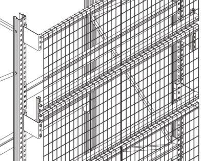 Gitterrückwand-Set, f. H 2500 u. T 850 mm, Weite 1900 mm, inkl. Zubehör