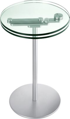 Glas-Beistelltisch, zwei drehbare Glasplatten, Höhe 535 / 565 mm