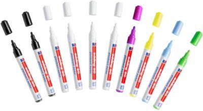 Glas-Boardmarker Edding 90, 10er-Set, 4 x weiß, 2 x schwarz,je 1 x gelb,grün,hellblau,lila