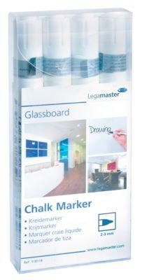 Glasboard-Kreidemarker Legamaster 7-118119, weiss, abwischbar, 4 Stück