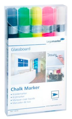Glasboard-Kreidemarker Legamaster 7-118195, farblich sortiert, abwischbar, 5 Stück