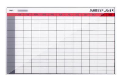Glasmagnet-Jahresplaner, 13 Planungsmodule, 208 Einzelfelder, H 480 x B 780 mm