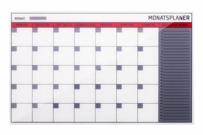 Glasmagnet-Monatsplaner, 8 Planungsmodule, 66 Einzelfelder, H 480 x B 780 mm