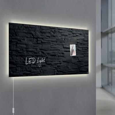 Glasmagnetboard Sigel Business artverum® LED light, Schiefer Stone, beschreibbar, 910 x 460 mm