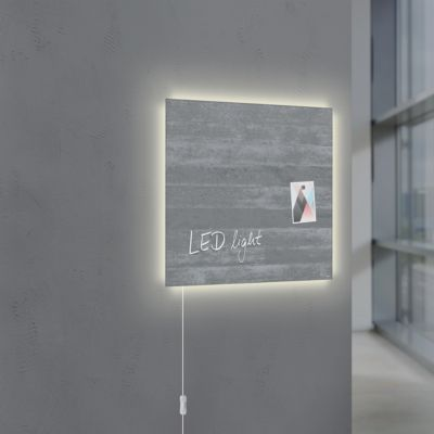 Glasmagnetboard Sigel Business artverum® LED light, Sichtbeton, beschreibbar, 480 x 480 mm