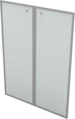 Glastüren für Regal PHENOR, 3 OH, satiniert, im Alurahmen, B 860 x H 1310 mm