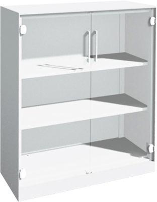 Glastürenschrank ASISTO C 3000, 3 Ordnerhöhen, B 1000 mm, weiß/Klarglas