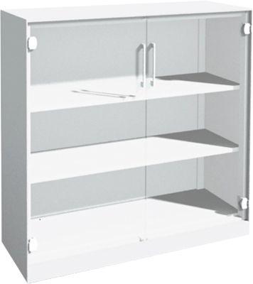 Glastürenschrank ASISTO C 3000, 3 Ordnerhöhen, B 1200 mm, weiß/Klarglas