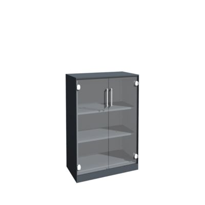 Glastürenschrank ASISTO C 3000, 3 Ordnerhöhen, B 800 mm, anthrazit/Klarglas