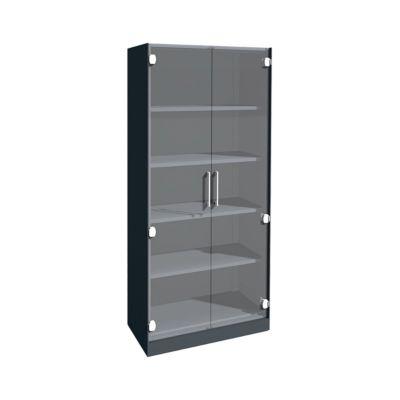 Glastürenschrank ASISTO C 3000, 5 Ordnerhöhen, B 800 mm, anthrazit/Klarglas