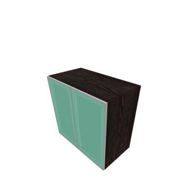 Glastürenschrank SOLUS PLAY, 2 Ordnerhöhen, grifflos, B 800 x T 440 x H 748 mm, Mooreiche