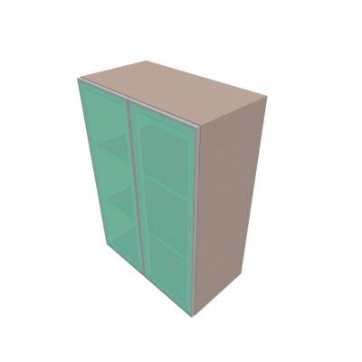 Glastürenschrank SOLUS PLAY, 3 Ordnerhöhen, grifflos, satiniert, B 800 x T 440 x H 1122 mm, Stone grey
