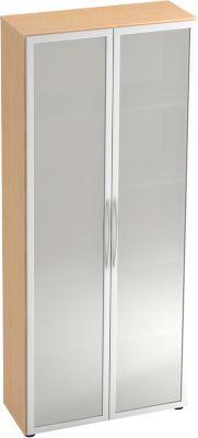 Glastürenschrank TARA, 5 Ordnerhöhen, B 800 x T 346 x H 1880 mm, Ahorn-Dekor