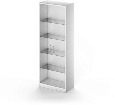 Glastürenschrank TETRIS SOLID, Stahlkorpus, 5 OH, B 800 mm, weißaluminium