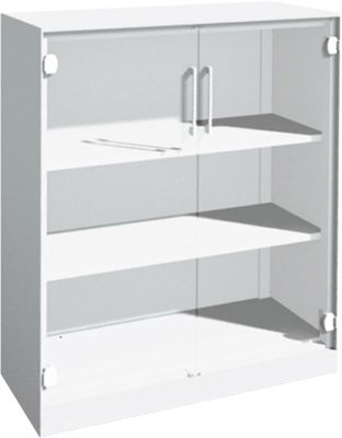 Glazen deurkast ASISTO C 3000, 3 ordnerhoogtes, B 1000 mm, wit/helder glas, 3 ordnerhoogtes, B 1000 mm