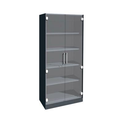 Glazen deurkast ASISTO C 3000, 5 ordnerhoogtes, B 800 mm, antraciet/helder glas, 5 ordnerhoogtes, B 800 mm