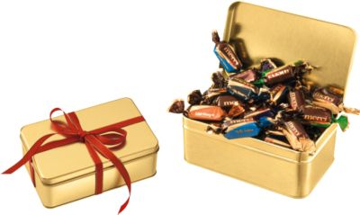 Goldbox Merci Chocolate Collection, goldene Metalldose, individualisierbar