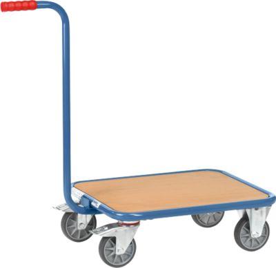 Griffroller, mit Holzplattform, L 600 x B 500 mm, bis 250 kg, Stahlrohr, blau