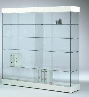 Große Glas-Standvitrine GRANAT, weiß