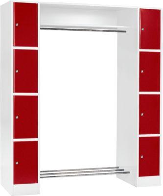 Grundeinheit, Schließfach-Garderobe S 4/4, lichtgrau/rot