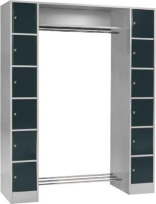 Grundeinheit, Schließfach-Garderobe S 4/6, Sicherheitszylinderschloss, hellsilber/anthrazit