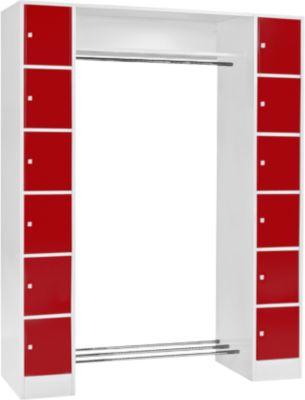 Grundeinheit, Schließfach-Garderobe S 4/6, Sicherheitszylinderschloss, lichtgr./rot