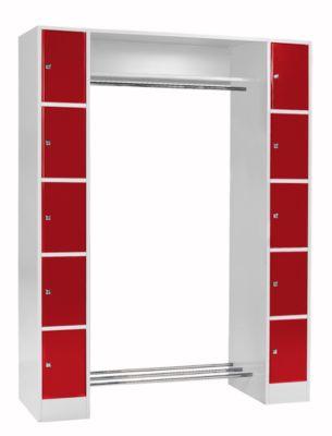 Grundeinheit, Schließfach-Garderobe S 5, lichtgr./rot