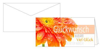 Grußkarte Viel Glück, mit Blumenmotiv, 10er-Set