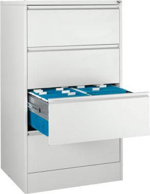 Hängeregisterschrank B 780 x T 580 x H 1350 mm, Stahlblech lichtgrau, 4 Schubfächer zweibahnig + 50 DIN A4 Hängemappen, blau