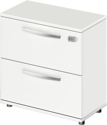 Hängeregisterschrank LOGIN, 2 Schübe, abschließbar, B 800 x T 420 x H 744 mm, weiß/weiß