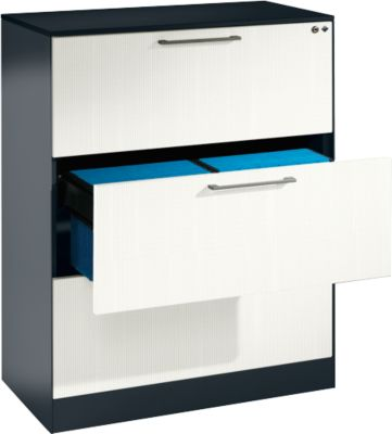 Hängeregistraturschrank ASISTO C 3000, 3 Schubladen, 2-bahnig, B 800 mm, mit Akustikblenden, anthrazit/weiß