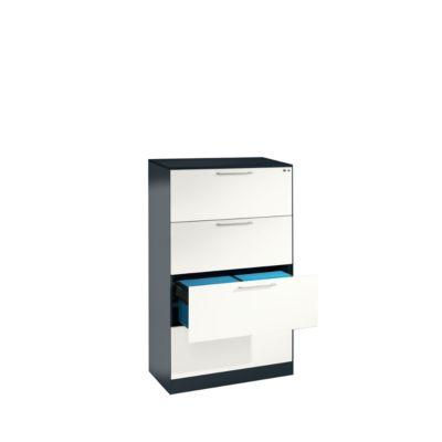 Hängeregistraturschrank ASISTO C 3000, 4 Schubladen, 2-bahnig, B 800 mm, anthrazit/weiß