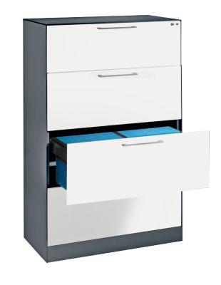 Hängeregistraturschrank ASISTO C 3000, 4 Schubladen, 2-bahnig, B 800 mm, mit Akustikblenden, anthrazit/weiß