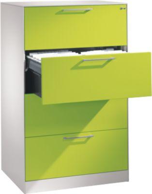 Hängeregistraturschrank ASISTO C 3000, 4 Schubladen, 2-bahnig, B 800 mm, weiß/virdingrün