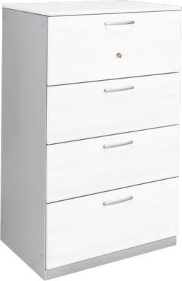 Hängeregistraturschrank P KS 24 SH, 4 Schübe, weiß/weißalu