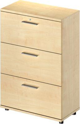 Hängeregistraturschrank TETRIS WOOD, 3 OH, B 800 mm, Höhe inkl. Gleiter, abschließbar, Ahorn-Dekor