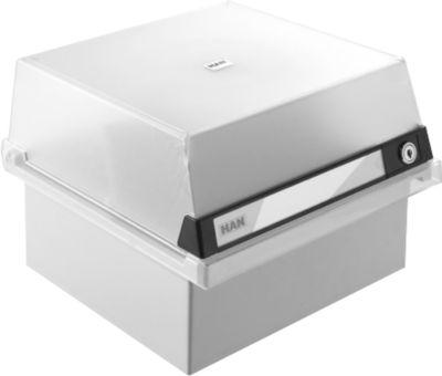 HAN Karteikasten, Kunststoff, DIN A5, mit abschließbarem Deckel, grau