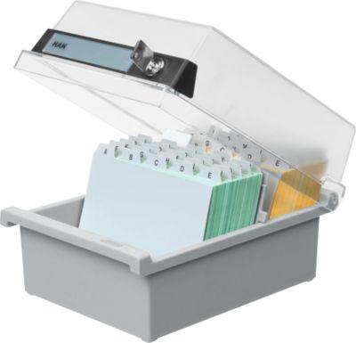 HAN Karteikasten, Kunststoff, DIN A6, mit abschließbarem Deckel, grau