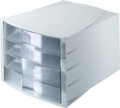 HAN Schubladenbox Impuls, 4 Schübe, Gehäuse lichtgrau/Schublade transparent