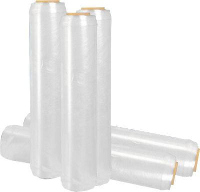 Hand-stretchfolie met versterkte rand e-stretch®, 10 micron, transparant, 6 rollen