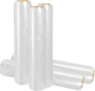 Hand-stretchfolie met versterkte rand e-stretch®, 6 micron, transparant, 6 rollen