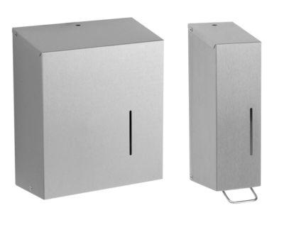 Handdoekendispenser + zeepdispenser, roestvastalen