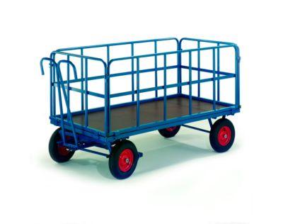 Handpritschenwagen mit Rohrgitterwänden, Räder aus Vollgummi, 1930 x 930 mm, Tragkraft 1000 kg